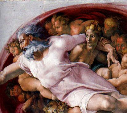 sistine creation of adam - the father is enveloped in the energy of creation - the force in his finger meets the lassitude in the finger of Adam