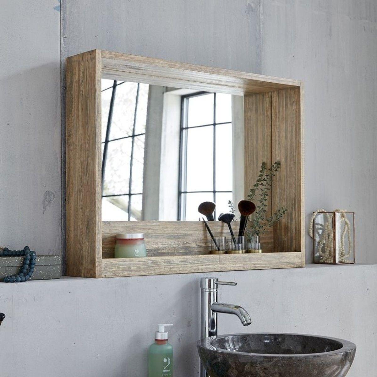 Miroir Avec Rangement En Bois D Hevea 80 Salle De Bain Bois Rangement Bois Miroir De Salle De Bain