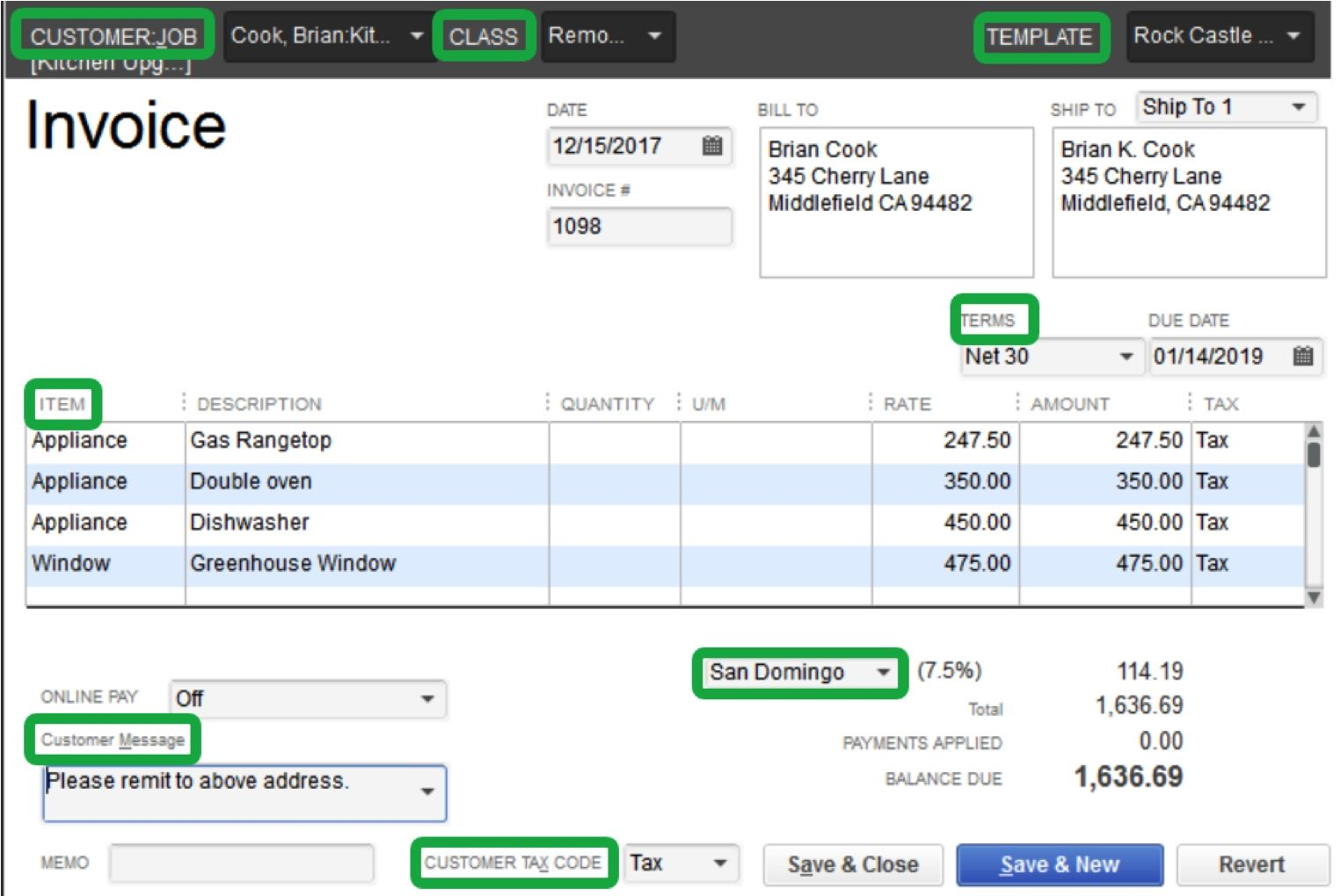 how to create an invoice in quickbooks 2016