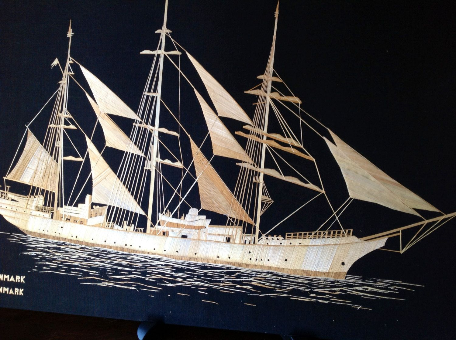 DANMARK  TALLSHIP of Denmark handmade with dried leaves of rice plant. Sailing ship of Denmark by museumshop on Etsy
