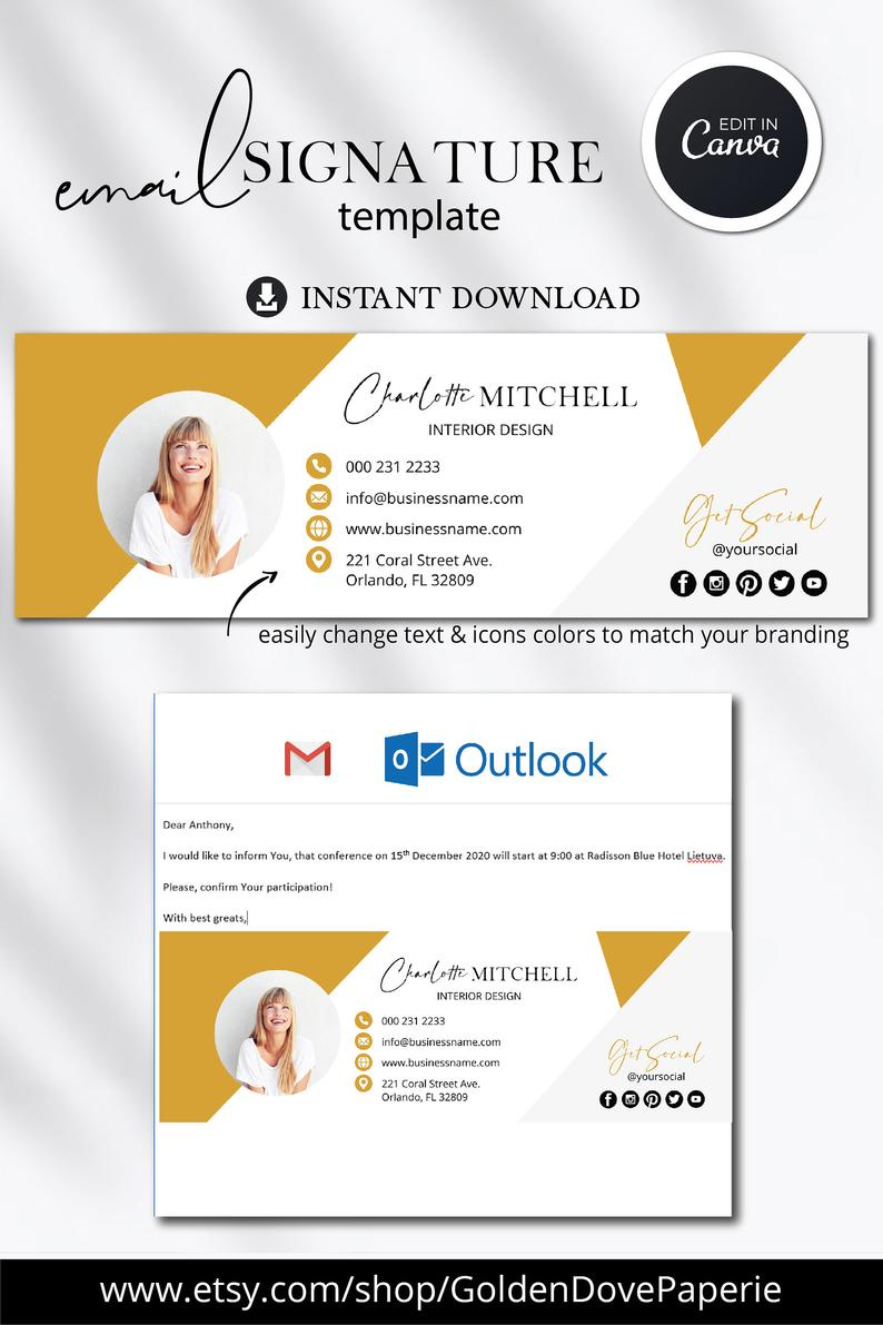 Email signature generator with beautiful, ready to use signature templates. Email Signature Template With Picture Gmail Signature Etsy In 2021 Email Signature Templates Email Signature Design Email Template Business