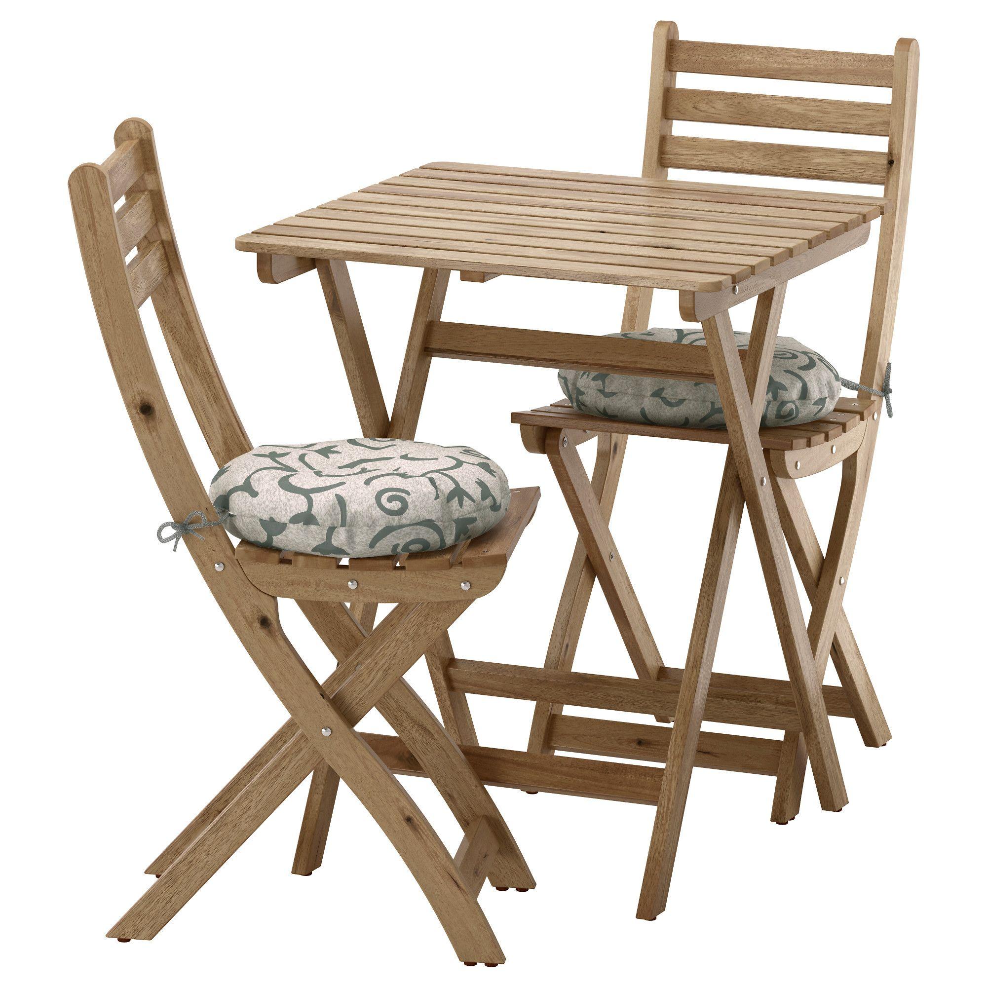 ASKHOLMEN, Tisch+2 Stühle/außen, graubraun lasiert, beige Jetzt ...