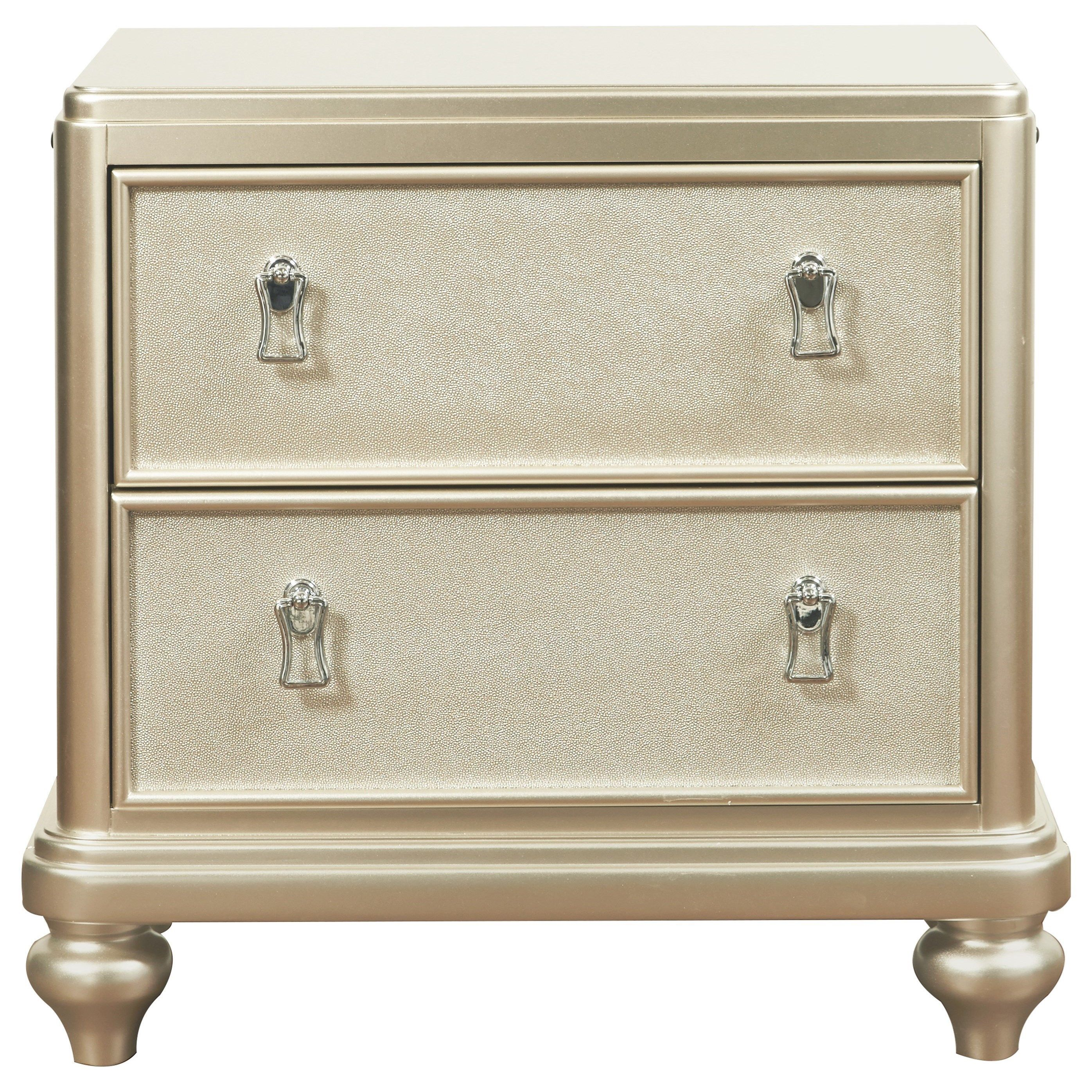 Best Diva 2 Drawer Nightstand W Embossed Faux Leather By 400 x 300