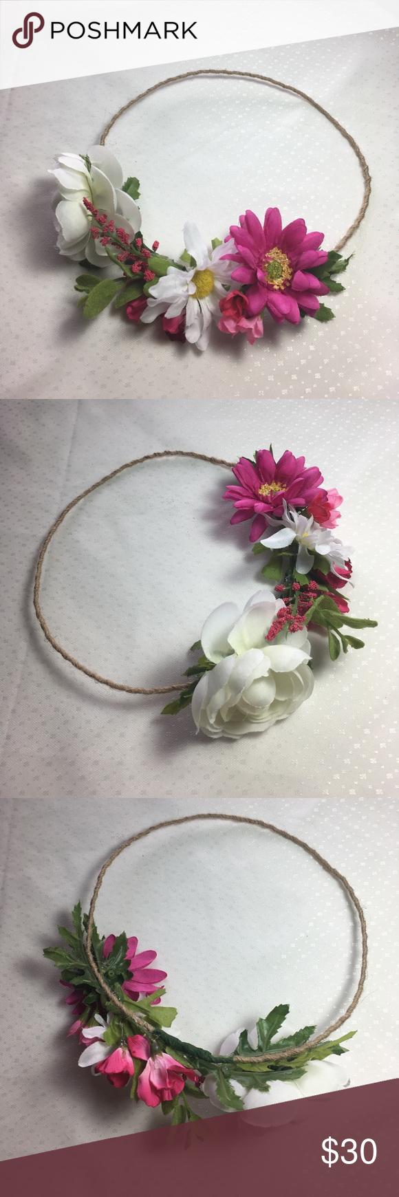 Flower Crown Festival Bohemian Wedding Pink White Gorgeous Handmade