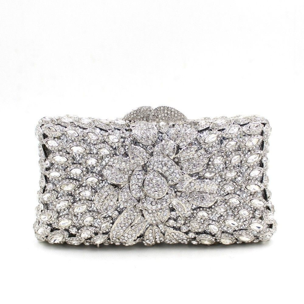 Elegant Silver Crystal Evening Clutch Bag for Prom Cocktail Party ... 06a1ac627b269