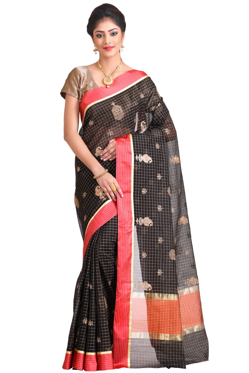 f3193345ab50ca Black Color Golden Zari Work With Red Satin Border Chanderi Checks Saree