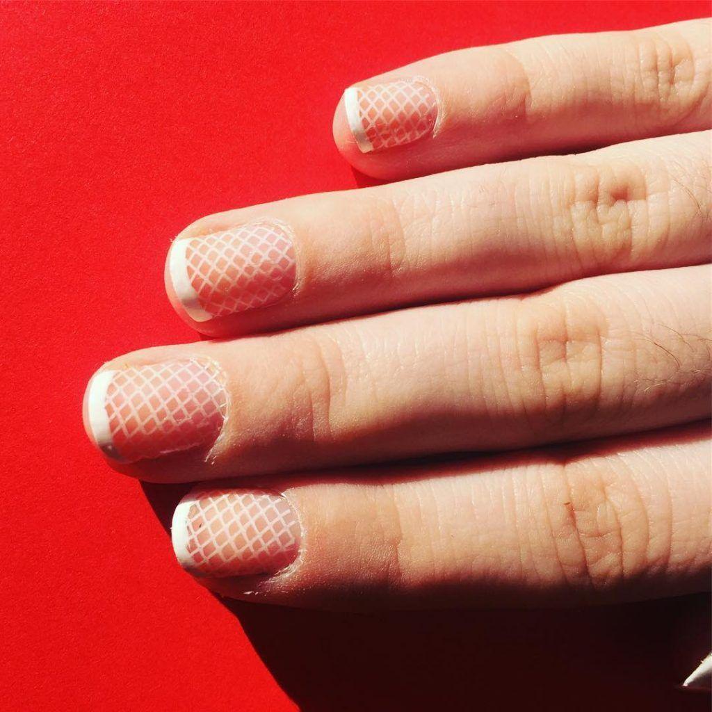 Stunning White Fishnet French Manicure Frenchmanicure Nails Nailsart Nailsdesign