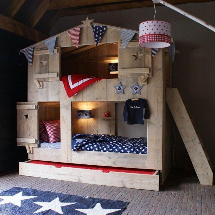 Steigerhouten Kinderkamer Bedstee Stapelbed 3 Kids Bunk Bed   Kinderkamer |  Stapelbedden En Hoogslapers