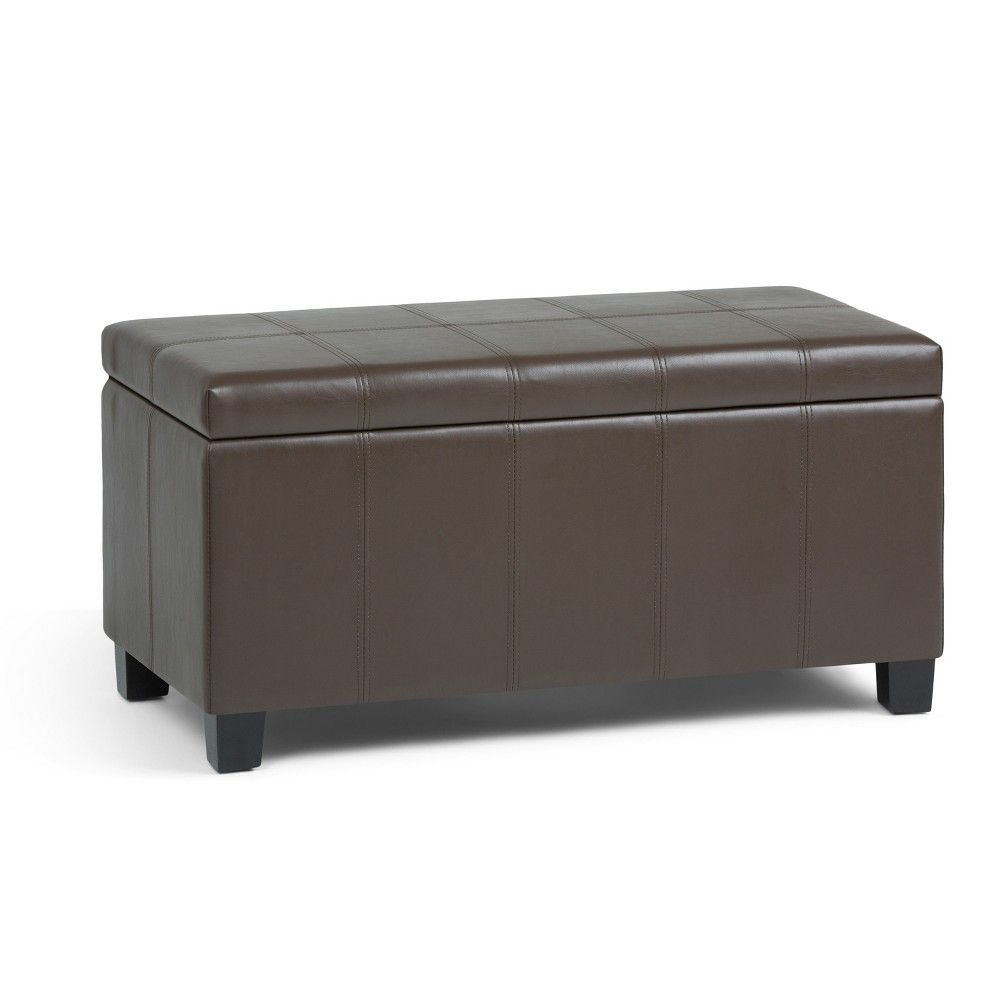 36 Lancaster Storage Ottoman Bench Chocolate Brown Faux Leather