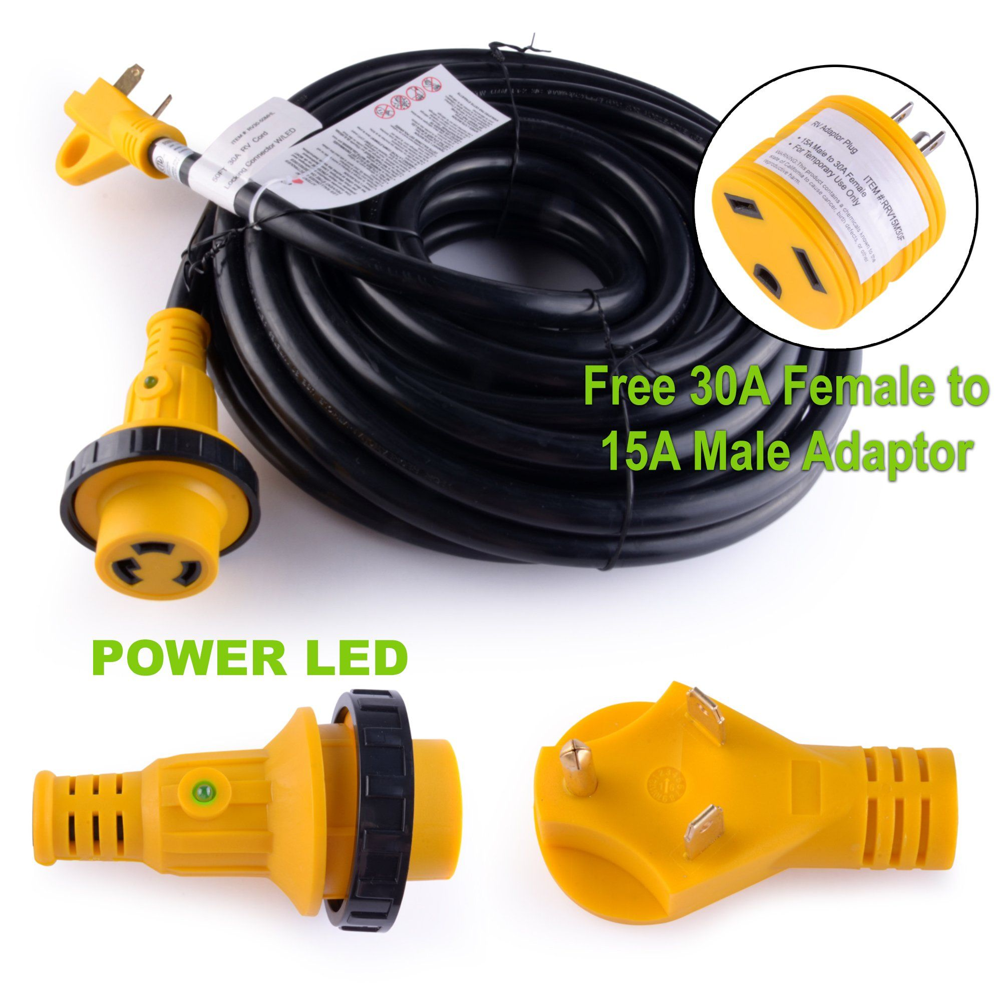 LeisureCords 50' Power / Extension Cord with 30 AMP Male