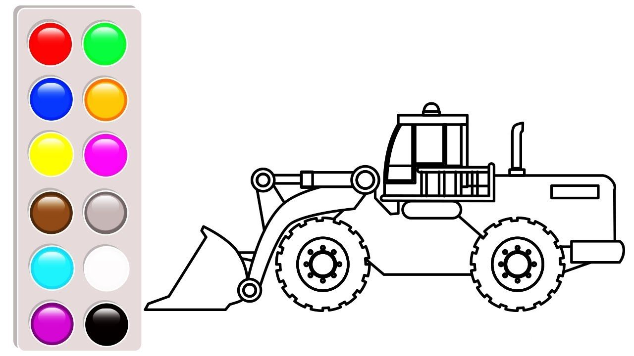 Excavator Coloring Pages For Kids Car And Truck Book Video
