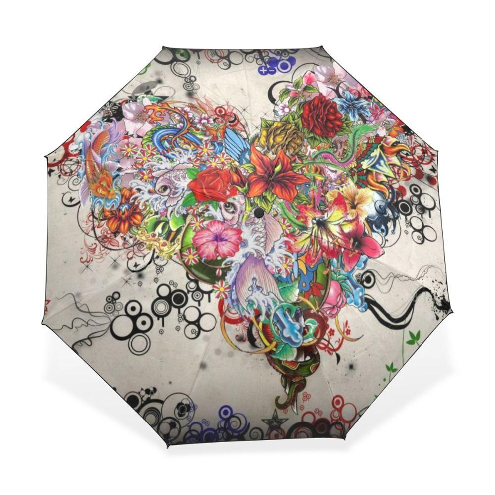 244857016d5c 3 Folding Parasol Sun Protection Anti-UV Women Rain Umbrellas Floral ...