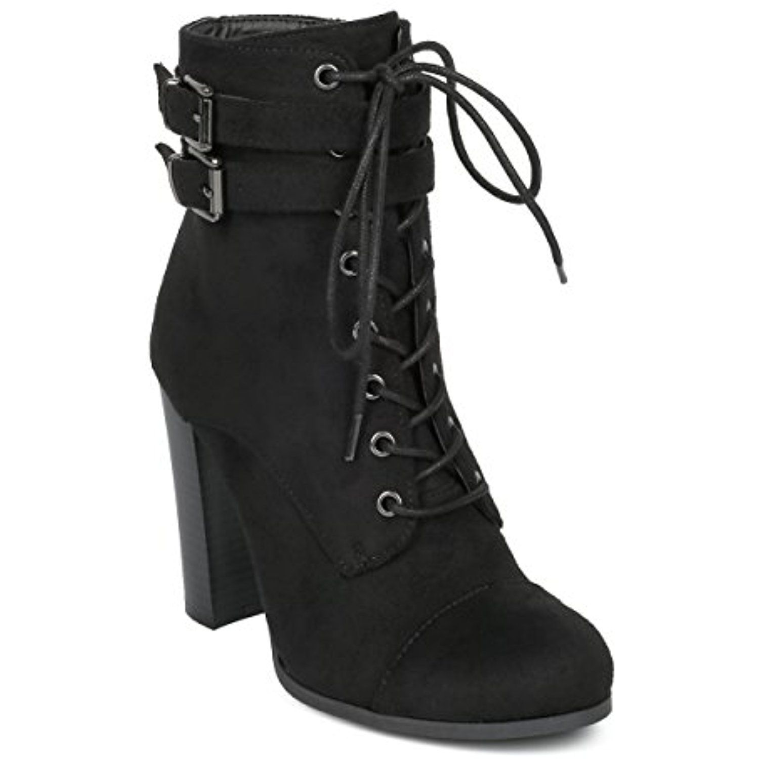 Women Block Heel Bootie - Lace Up Chunky Heel Ankle Boot - Dressy Versatile Combat Party - HE31 by Wild Diva Collection
