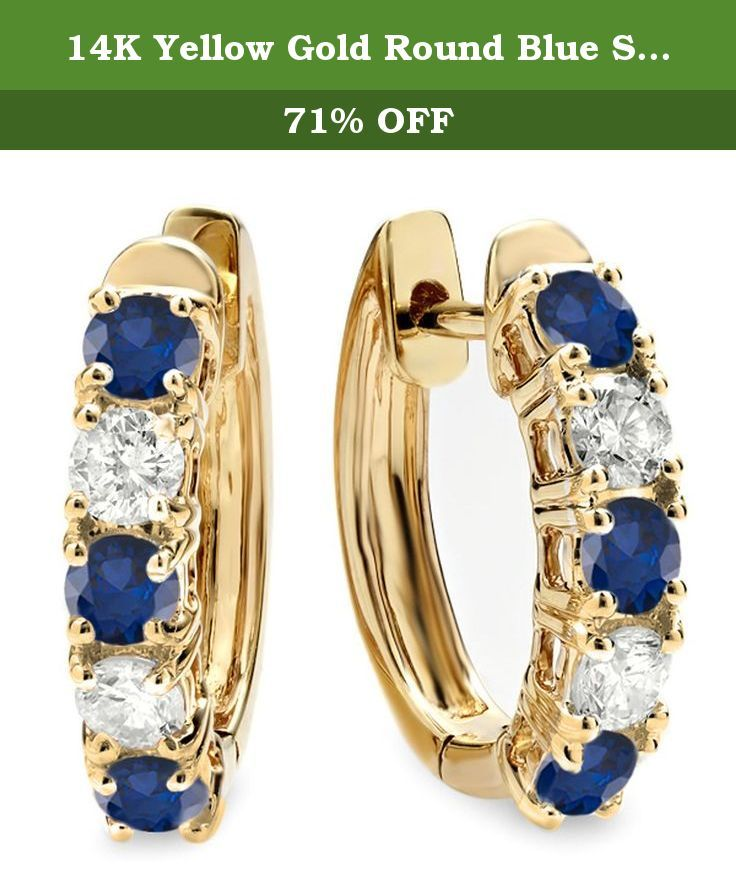 2aa2e50c70b 14K Yellow Gold Round Blue Sapphire   White Diamond Ladies Huggies Hoop  Earrings. This lovely piece of jewelry is a wardrobe must have.