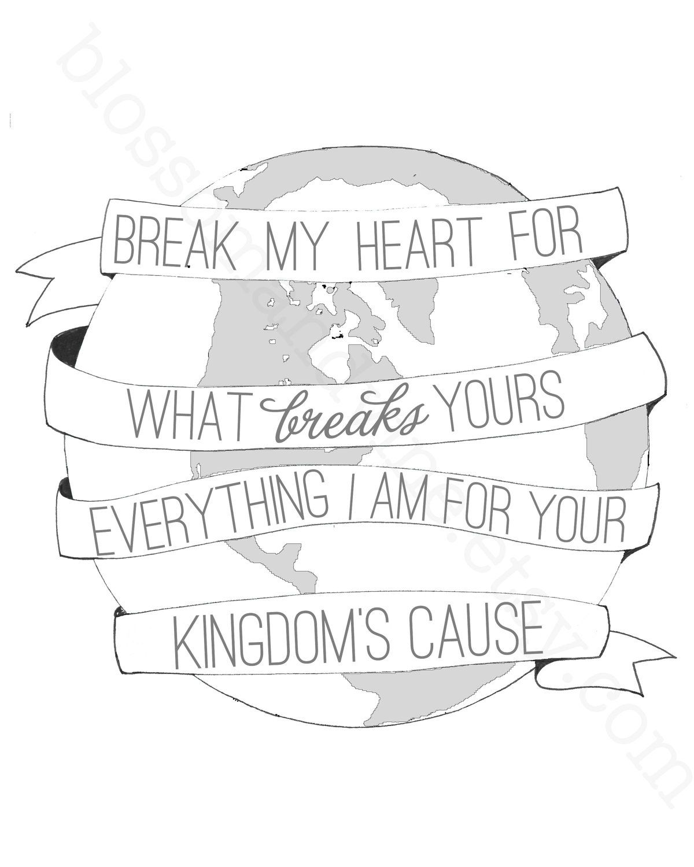 Break my Heart Print - gray-scale world globe 8x10 hand drawn banner illustration - (Kingdom Collection - benefits Compassion International). $12.00, via Etsy.
