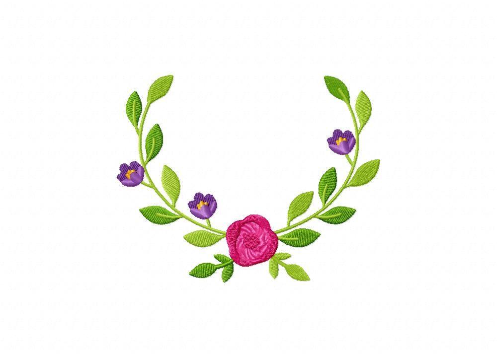Springtime Wreath Pink Flower Machine Embroidery Design Freebie