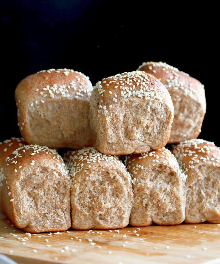 Soft Whole Wheat Dinner Rolls. Moist and soft Whole wheat Rolls 100% Whole  grain rolls. Use as Wheat Buns for Burgers or Sliders. Vegan Whole Grain  Dinner ...