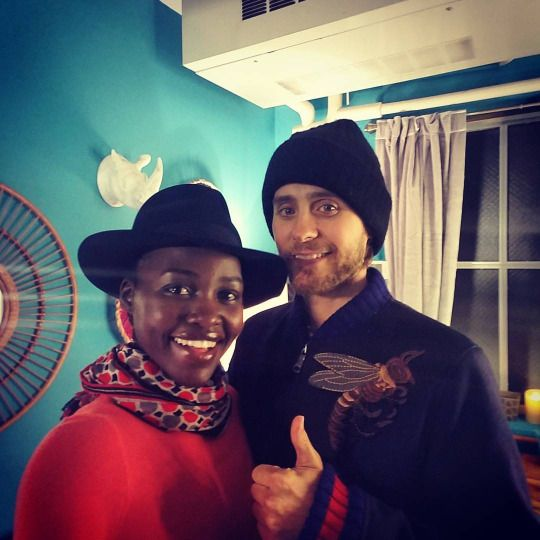 lupita nyong'o :My dear friend @JaredLeto visited the #IronLadies of @eclipsedbway and gave us a thumbs up! I'll take that, thank you very much. Thank you for coming!! #reunited #eclipsedplay