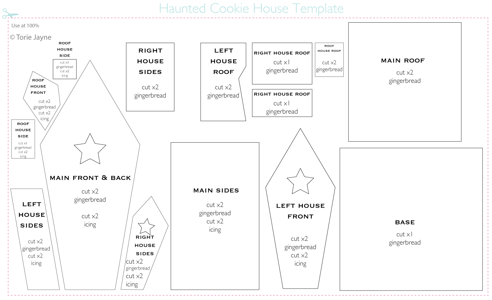 Haunted cookie house template Gingerbread house template