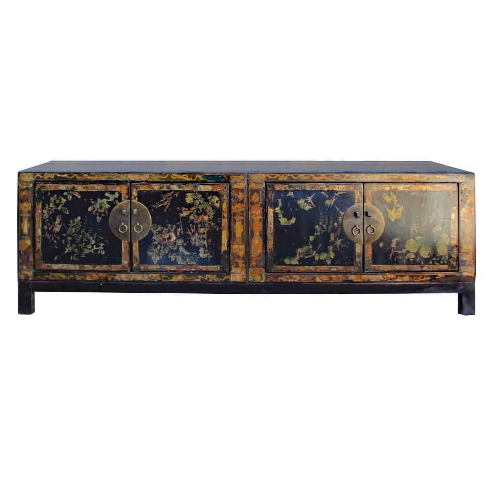 "This is a TV console cabinet in a distressed black base color and decorated with oriental flowers on the doors. It has a set of charming old-style hardware that enhances the character and outlook. Dimensions:   w65"" x d18"" x h21"" Origin:             China Material:         Elm Wood Condition:       Vintage Finish, wood joint lines, distressed look Work : Handmade quality, ship in one piece US domestic continental buyer of 48 states pays $295 shipping charge for curb site delivery. Customer from Hawaii, Alaska, US Island and Canada pays extra shipping cost. Insurance and handling charge are already included in the shipping cost. In store pick up is highly welcomed if you are in San Francisco Bay Area. (No charged) White Glove service can be arranged with additional cost. For customer who are looking to buy multiple items. We can either combine ""several items on the same pallet ""or ""include small item inside the largest item as long as it fit in""."