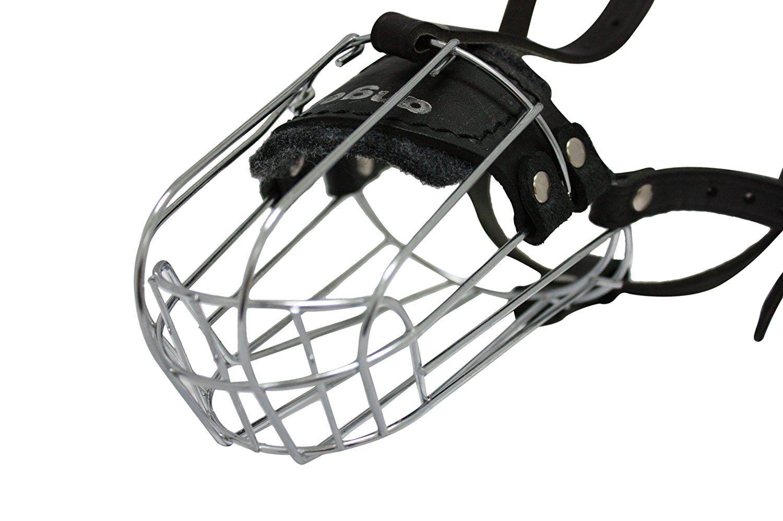 Wire Cage and Leather Muzzle (Miami). Size D1, Black. 11\' circumf ...