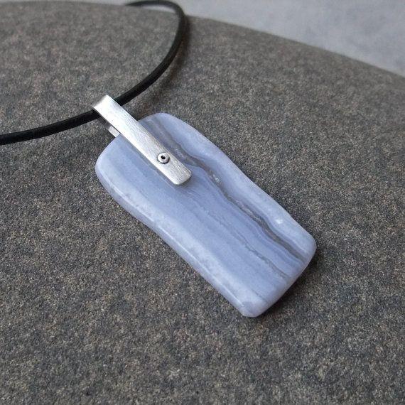 Blue Lace Agate pendant necklace    gem by NaturesArtMelbourne,