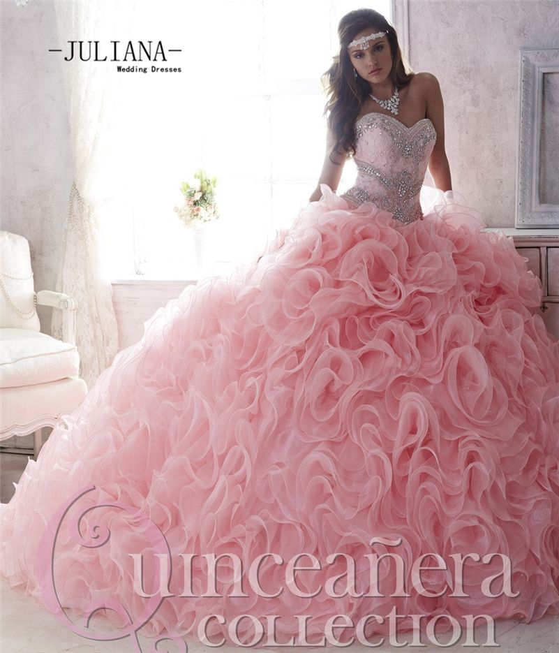 Find More Quinceanera Dresses Information about Juliana Luxury 2016 Sexy  Light Pink Puffy Quinceanera Dresses Ball Gown with Beaded Prom Debutante  Sweet 16 ... 5cda36c28bdb