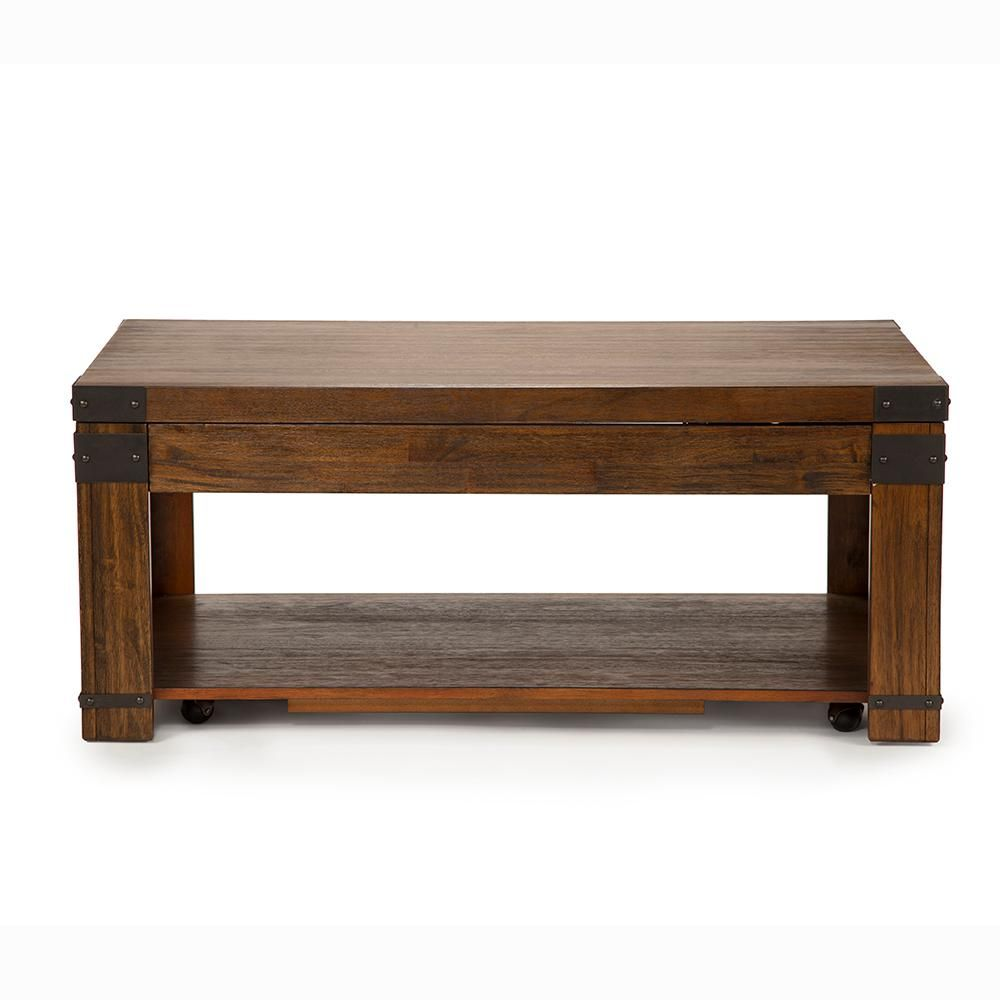Unbranded Arusha Lift Top Cherry Cocktail Table With Casters Ar200c The Home Depot Rectangle Coffee Table Wood Coffee Table Coffee Table Rectangle [ 1000 x 1000 Pixel ]