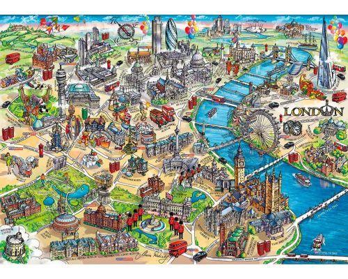Mapa Turístico De Londres.Puzzle Gibsons Mapa Turistico De Londres De 1000 Piezas