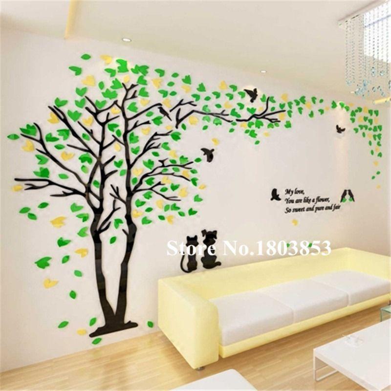 3D Lilac Heart Tree Wall Sticker