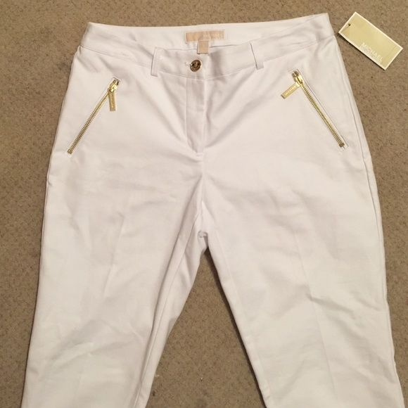 Michael Kors Gorgeous White Dress pants with gold accents never worn! I am open to offers! Michael Kors Pants Straight Leg