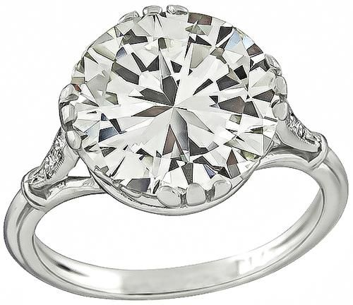 Edwardian Round Cut Diamond Platinum Engagement Ring