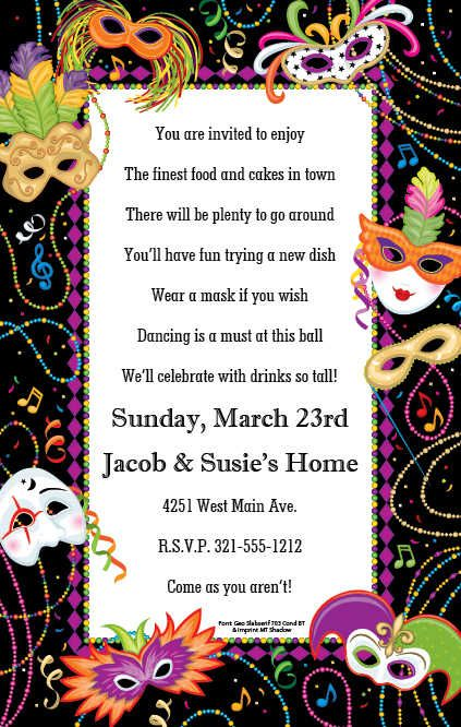 image regarding Free Printable Mardi Gras Invitations named No cost Printable Mardi Gras Birthday Invites Choir
