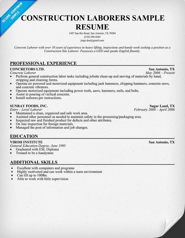 Resume For Laborer In Construction -    topresumeinfo resume - example professional summary