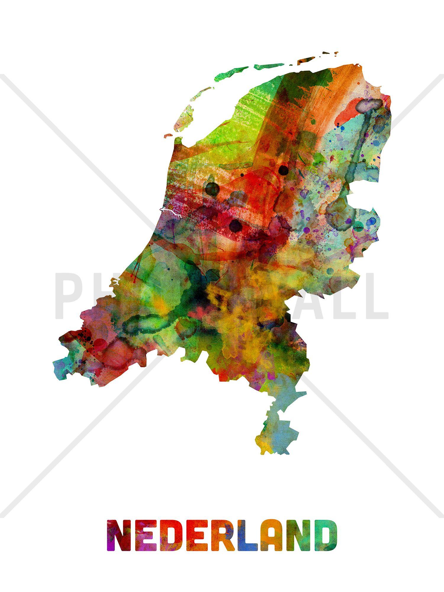 Netherlands Watercolor Map Decoration Murale Papier Peint