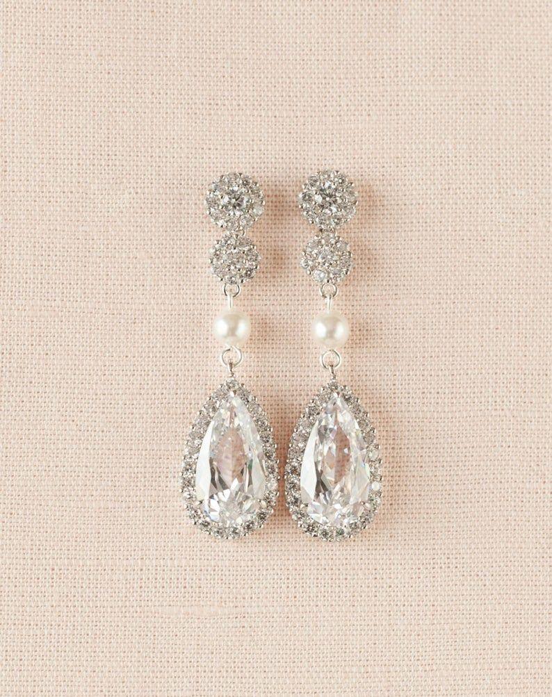 Bridal Earrings Rose Gold Earrings Swarovski Crystal Drop Etsy In 2020 Gold Bridal Earrings Pearl Earrings Wedding Bridal Earrings