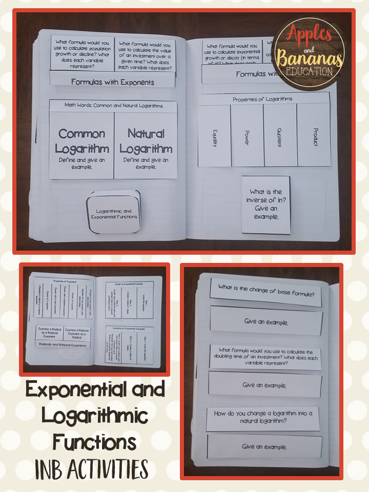 Exponential And Logarithmic Functions Interactive Notebook
