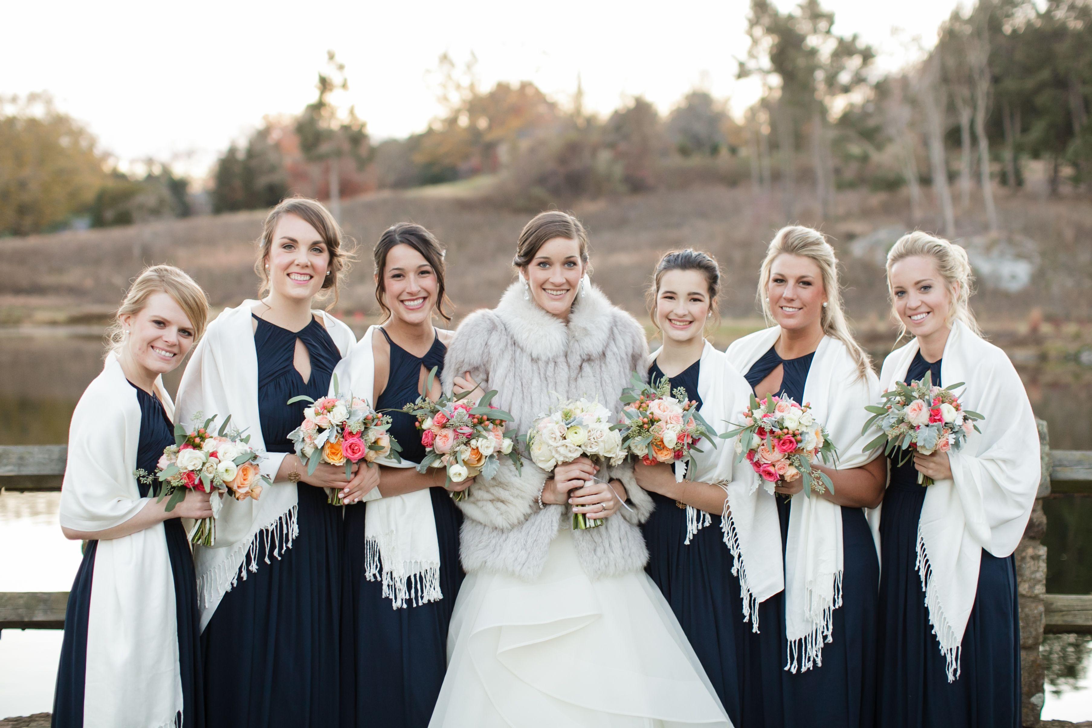 Winter Bridal Party Navy Blue Wedding Uva Chelsea Tyler 11 15 14 Photo Credit Sincerely Liz Photography