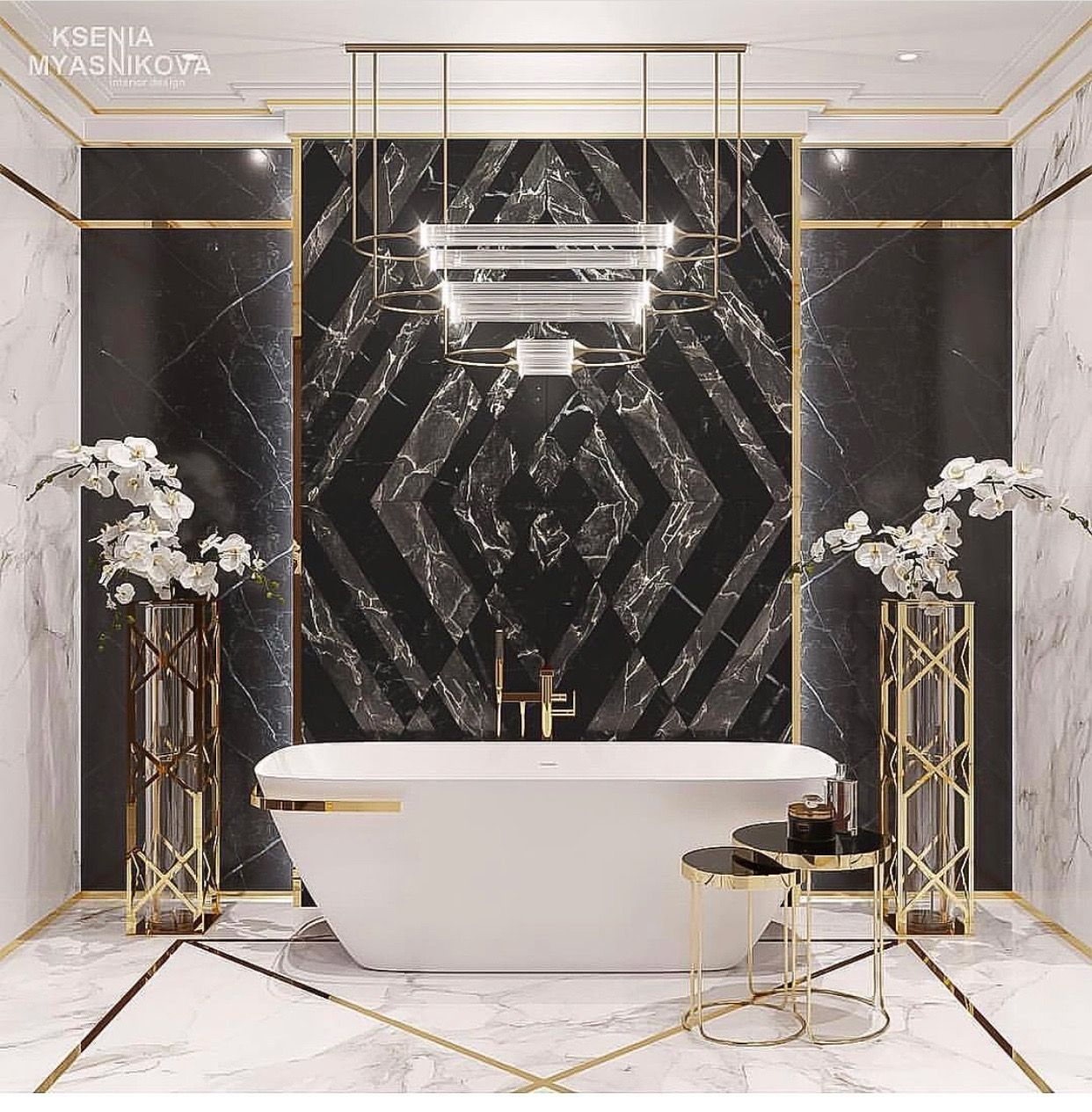 Glam Bathroom With Black Marble And Brass Details Bathroom Design Luxury Luxury Bathroom Master Bathroom Decor