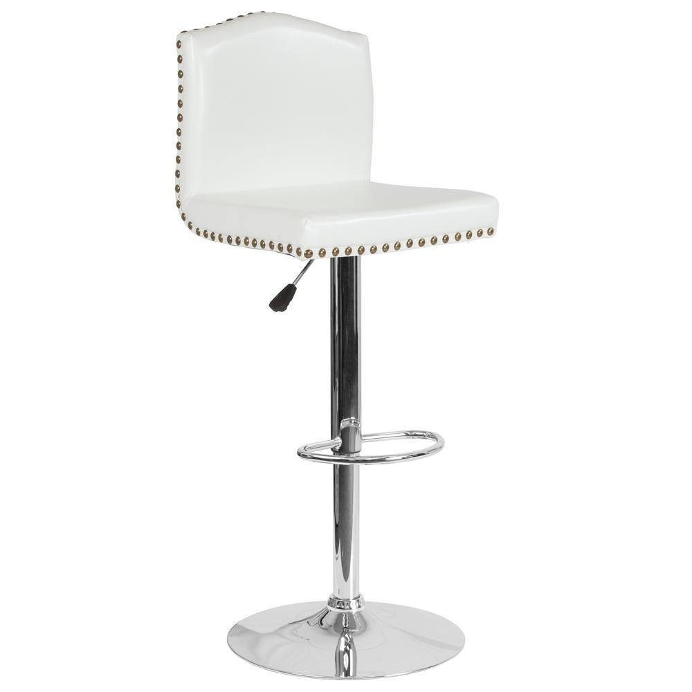 Carnegy Avenue Adjustable Height White Leather Bar Stool White