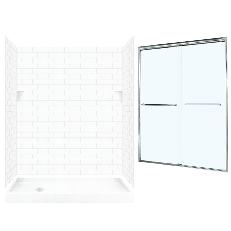 Swan White 5 Piece Alcove Shower Kit Common 32 In X 60 In