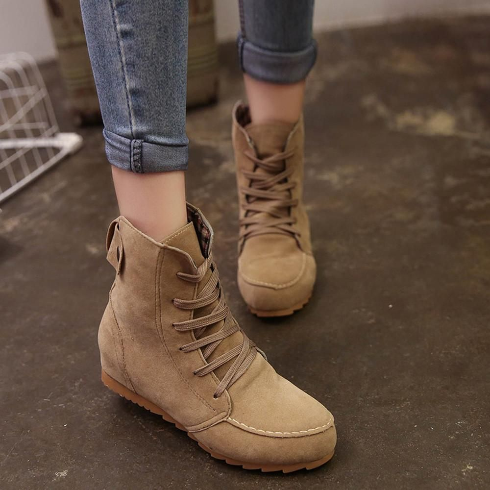 d40d11fa98478 Women Flat Ankle Snow Motorcycle Boots Female Suede Leather Lace-Up Boot ?  Features: 1.High quality material,comfortable and soft,Reduces stress on  joints ...