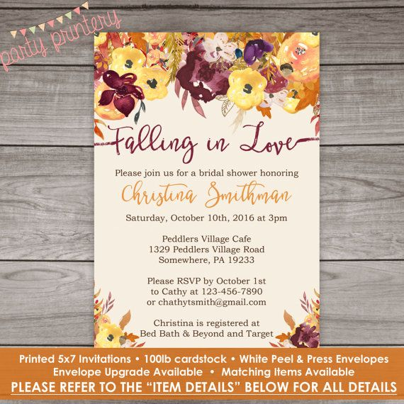 Fall Bridal Shower Invitations Fall Floral By PartyPrintery