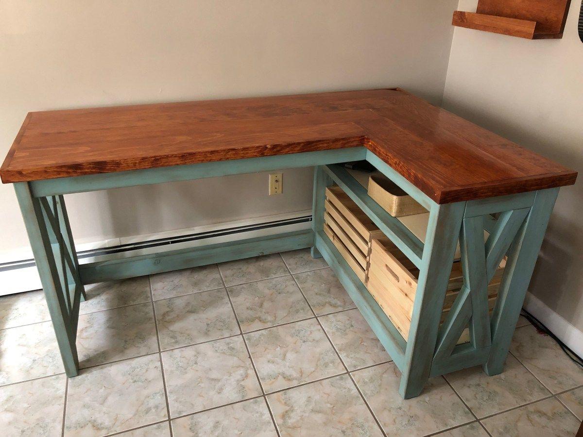 Diy Farmhouse X Desk Free Plans Heatherstudios In 2020 Diy Desk Plans Diy Corner Desk Diy Wood Desk