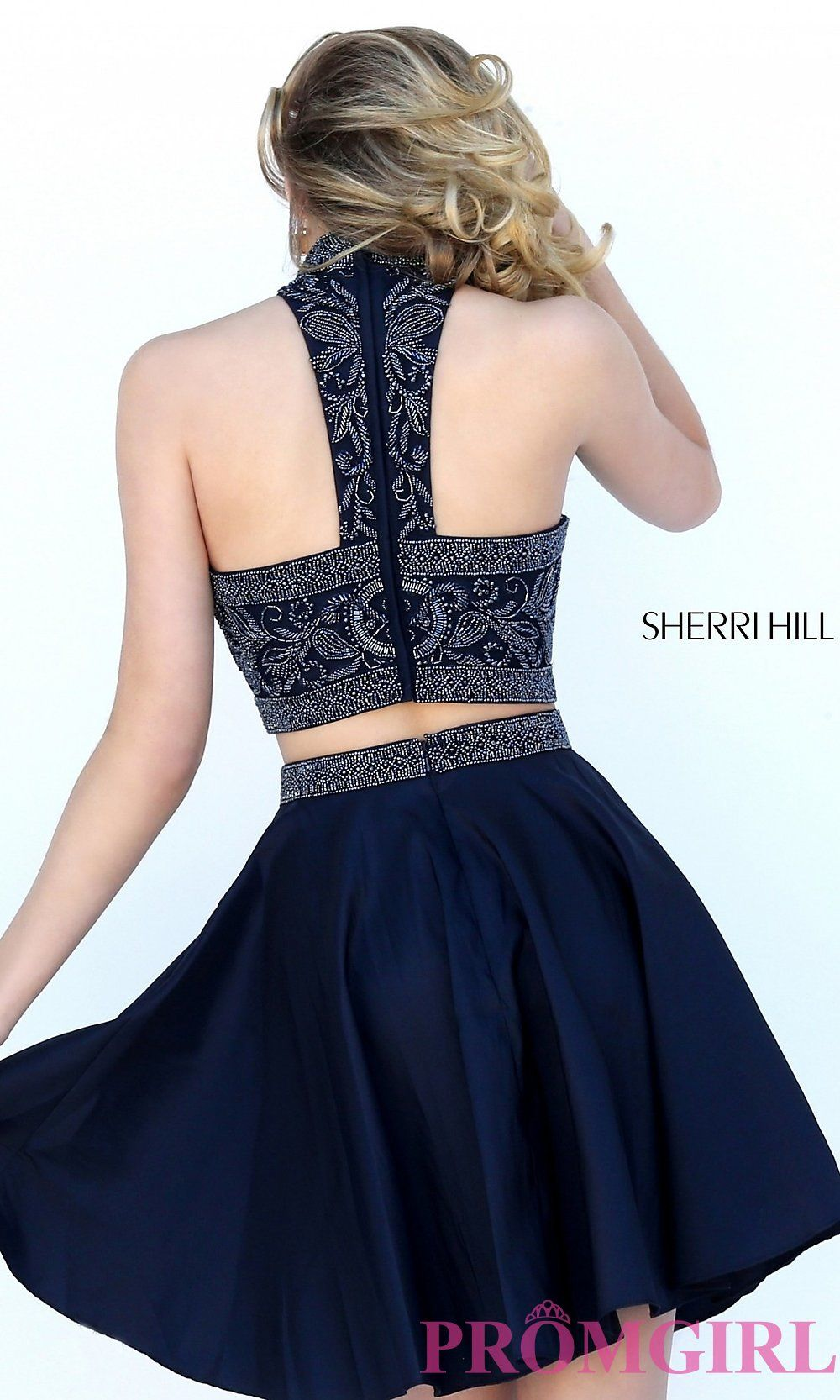 7791a98cf7cd Image of short two-piece beaded Sherri Hill homecoming dress. Back Image