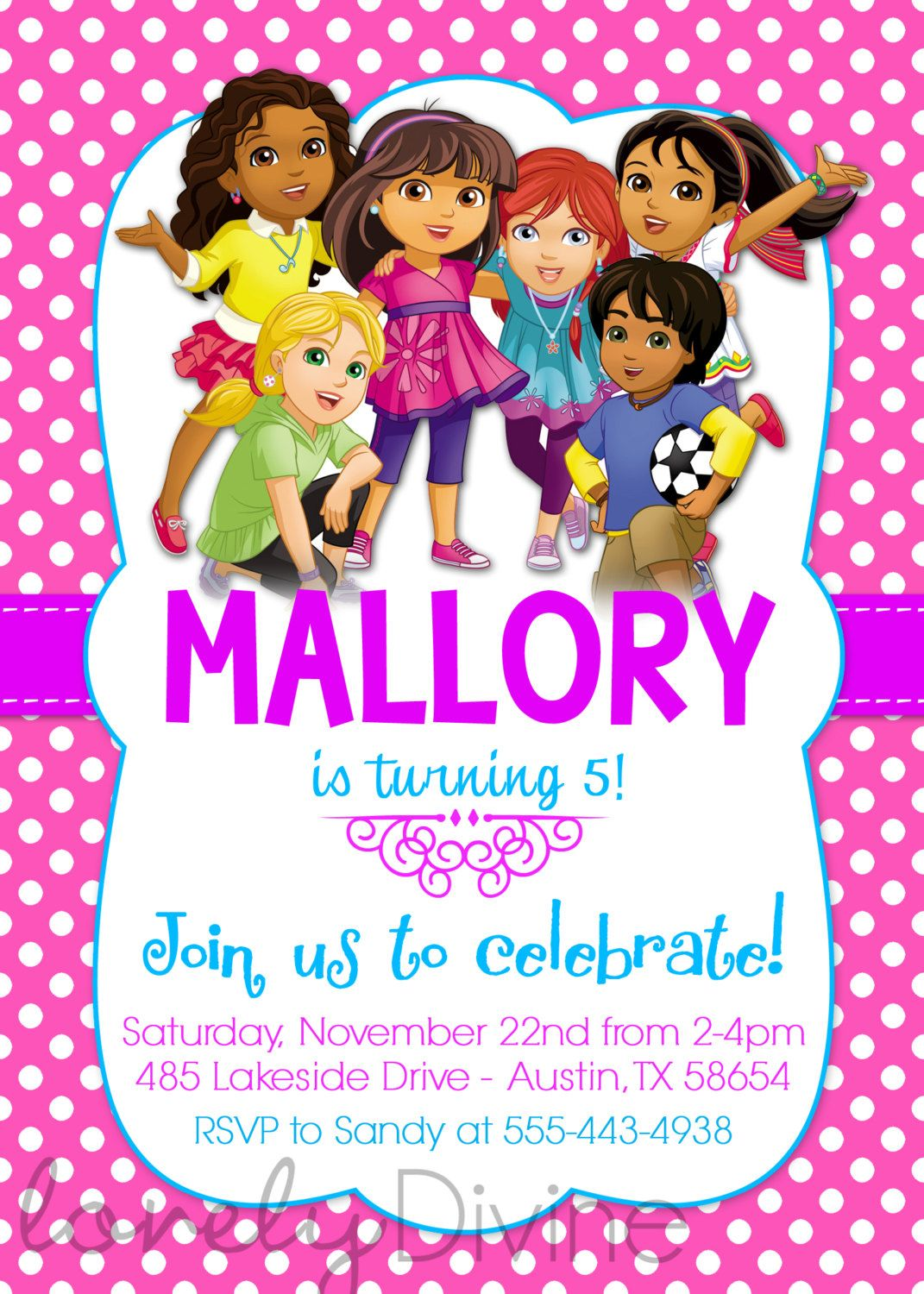 Dora and friends birthday invitation dora invite new dora dora and friends birthday invitation dora invite by lovelydivine9 filmwisefo