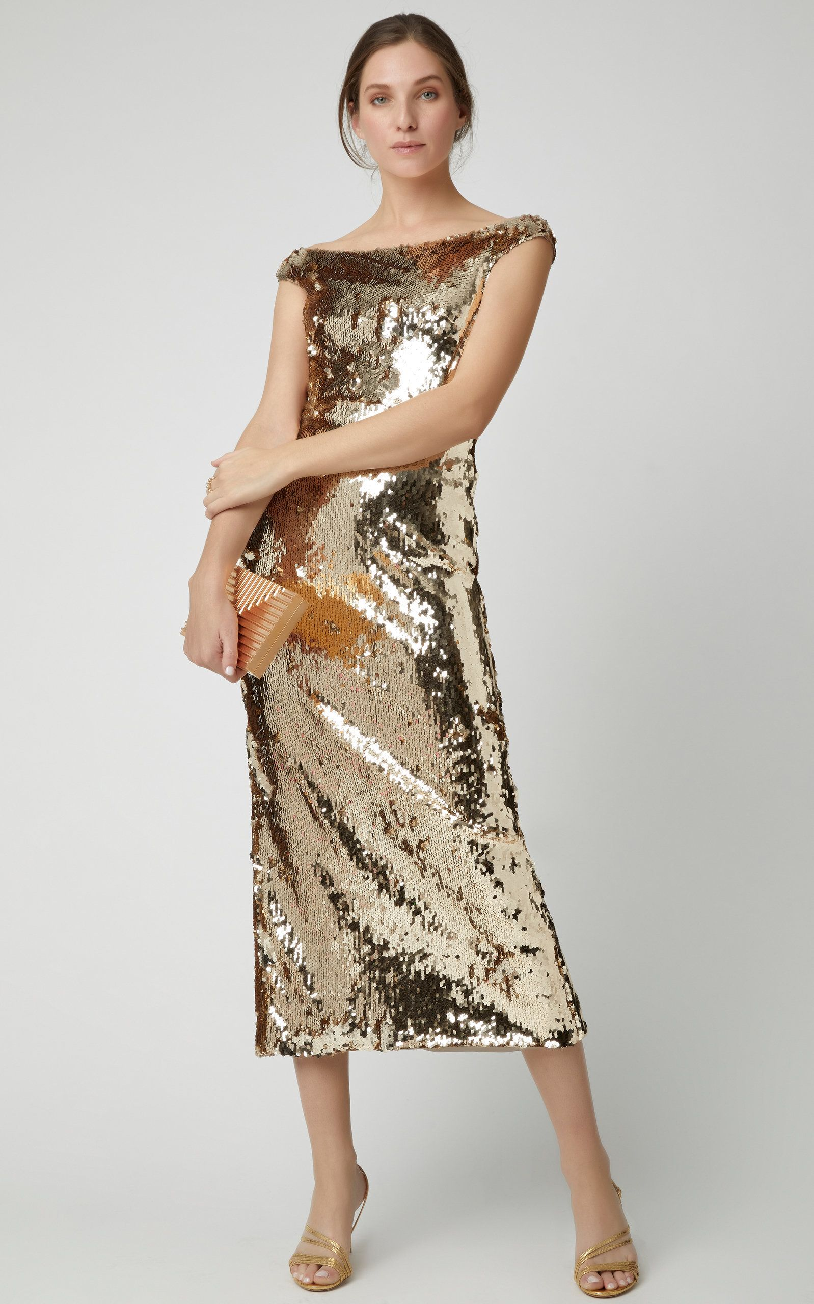 dda91e827c8 M O Exclusive Therese Off-The-Shoulder Sequin Midi Dress by SALONI Now  Available on Moda Operandi