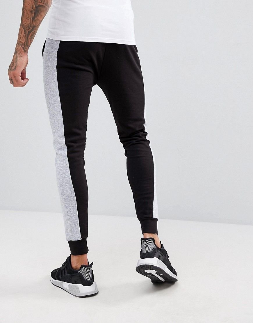 ASOS Super Skinny Joggers With Color Blocking Nep Panel - Black