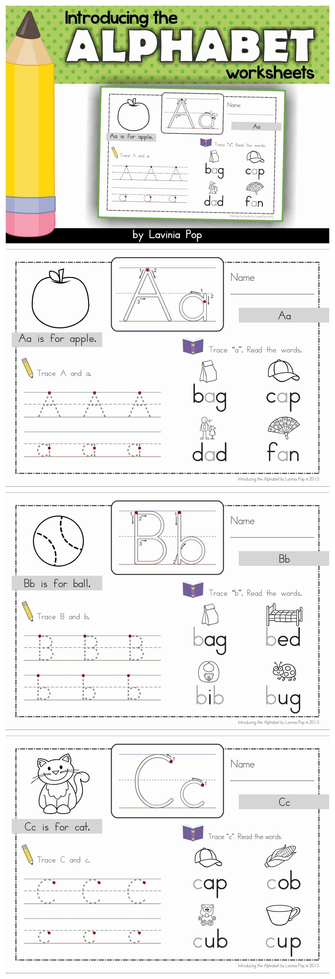 Introducing The Alphabet Worksheets The Focus Is On Both