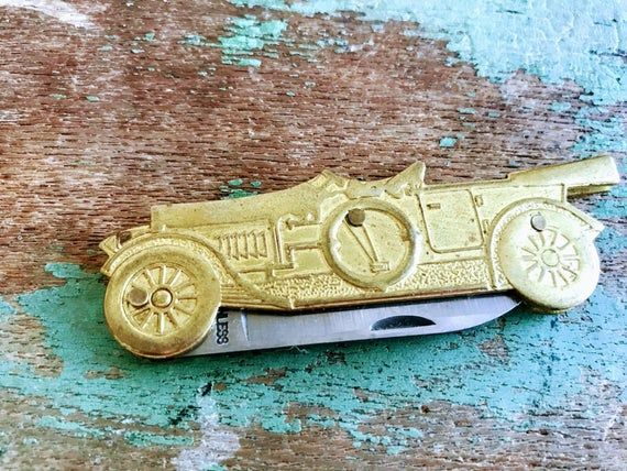 Vintage Brass Antique Car Roadster Pocket knife | Etsy